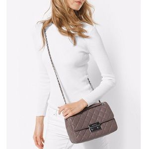 Michael Kors Large Quilted Sloan Bag - Cinder Grey